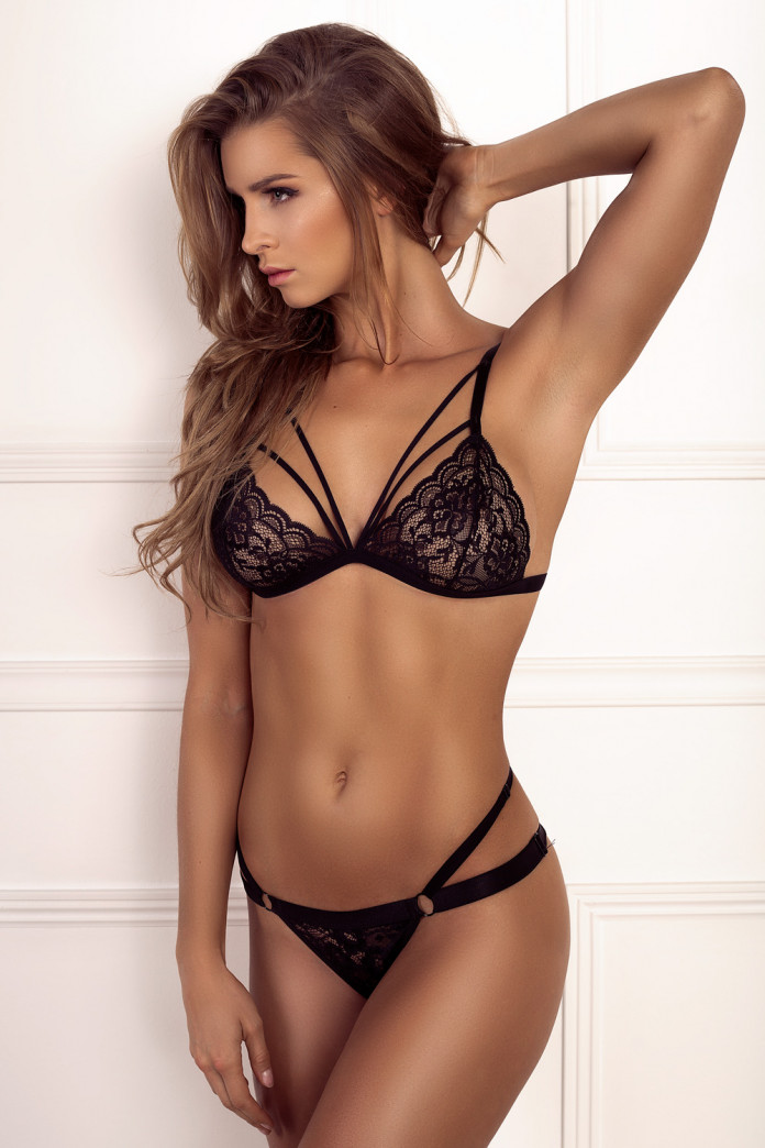 Black Double Strap Thong