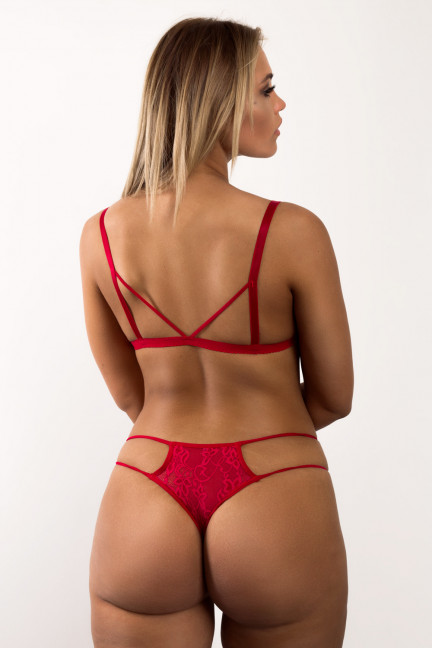 Red Peekaboo Flower Thong