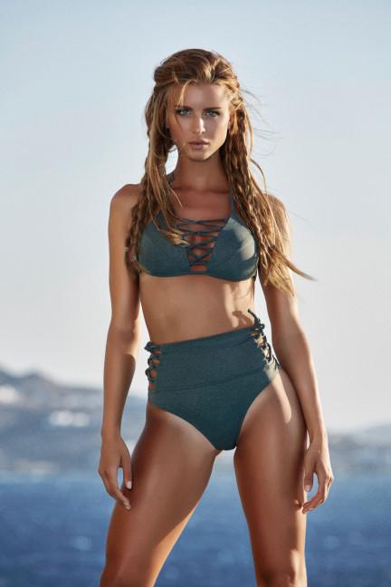 Green Strappy High Waist Bikini