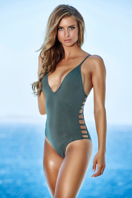 Gray Strappy Side Swimsuit